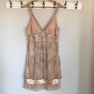 Sue Wong // Beaded cocktail blush dress